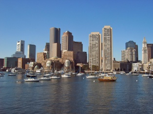 Boston skyline with boats