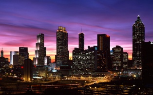 Atlanta skyline at dusk
