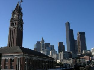 King Street Station with Seattle skyline