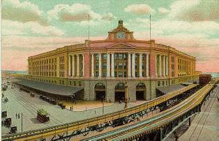 Boston South Station historic postcard