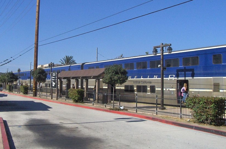 Amtrak train at the Old Town Station in San Diego